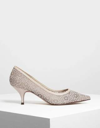 Charles & Keith Crochet Lace Pumps