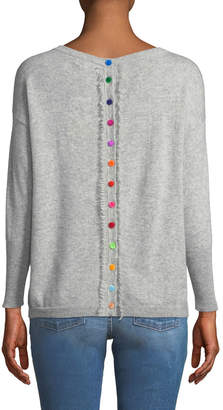 Neiman Marcus Cashmere Pompom Button-Back Sweater, Heather Gray