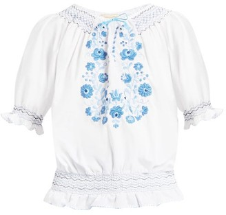 Muzungu Sisters - Dora Embroidered Cotton Top - Womens - Blue White