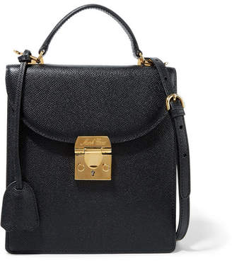 Mark Cross Uptown Textured-leather Shoulder Bag - Black