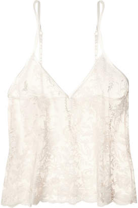 Cosabella Rosie Embroidered Cotton-blend Tulle Camisole - Ivory
