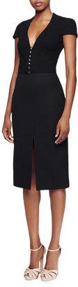 Alexander McQueen Cap-Sleeve Deep-V-Neck Dress, Black