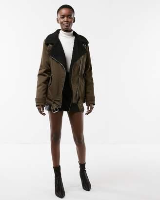 Express Twill Faux Fur Moto Jacket