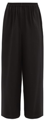 eskandar Wide Leg Silk Crepe Trousers - Womens - Black