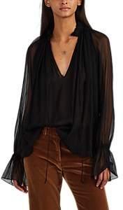 Nili Lotan Women's Arizona Silk Chiffon Blouse - Black
