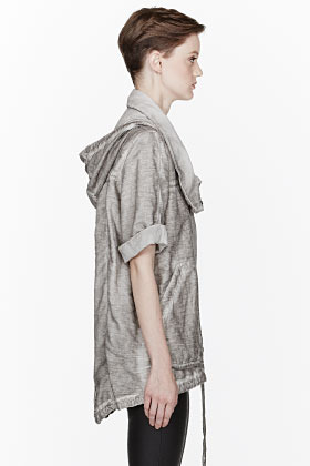 Helmut Lang HELMUT Grey Faded Relaxed Fit Hooded Trooper Jacket
