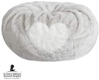 Pottery Barn Teen St. Jude Heart Beanbag, Slipcover + Insert, White/Gray, Large