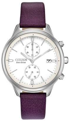 Citizen Chandler Silver Dial Leather Strap Ladies Watch FB2000-11A