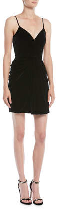 Brandon Maxwell Sleeveless Sweetheart-Neck Thin-Strap Velvet Mini Dress