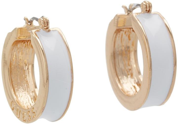 GUESS Small Wide Enamel Hoop Earrings (White/Gold) - Jewelry