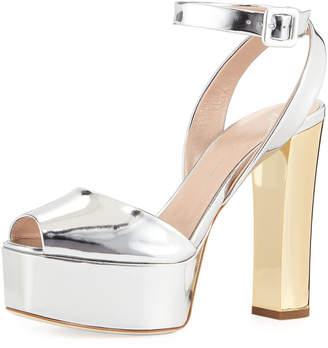 Giuseppe Zanotti Denim Platform Ankle-Strap Sandals