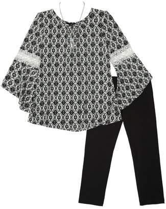 Amy Byer Iz Girls 7-16 IZ Bell Sleeve Top & Leggings Set with Necklace