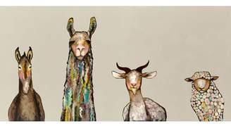 Mercury Row 'Donkey, Llama, Goat, Sheep' Acrylic Painting Print on Canvas in Cream