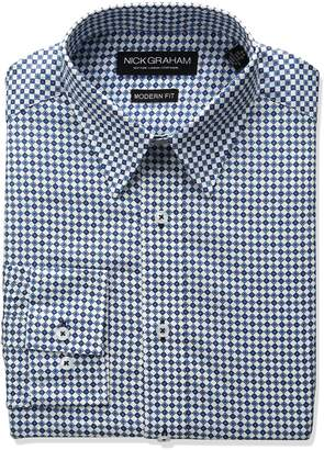 Nick Graham Men's Diamond Geo Print Dress Shirt