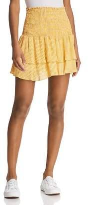 Sage the Label Positano Smocked Gingham Mini Skirt