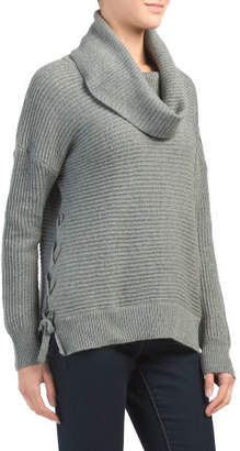 Ribbed Cowl Neck Lace Up Sweater