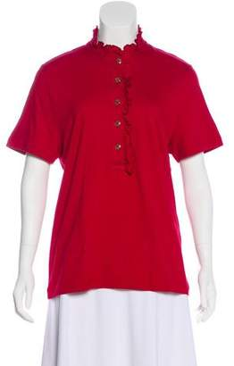 Tory Burch Ruffle-Trimmed Short Sleeve Top