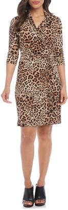 Karen Kane Long Sleeve Cascade Faux Wrap Dress