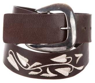 Giorgio Armani Leather Embroidered Belt