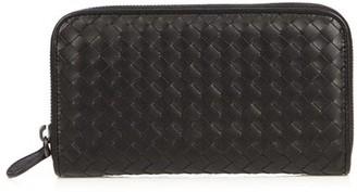 Bottega Veneta Intrecciato Leather Zip Around Wallet - Mens - Black