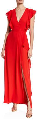 BCBGMAXAZRIA Asymmetric V-Neck Ruffle Sleeve Gown