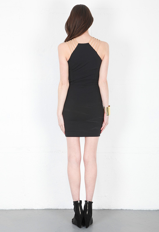 Donna Mizani Ultra Soft Multi Strap Dress in Black -