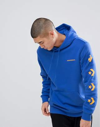 Converse Pullover Hoodie With Sleeve Print In Blue 10006433-A03