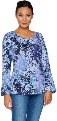 Isaac Mizrahi Live! Floral Branch Print Top with Ladder Lace Detail