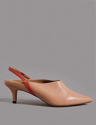 Marks and Spencer Leather Kitten Heel Slingback Court Shoes