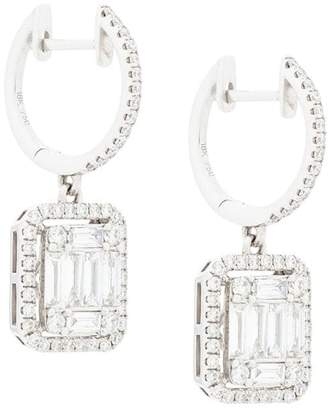 Gemco 18kt white gold square cut diamond drop earrings