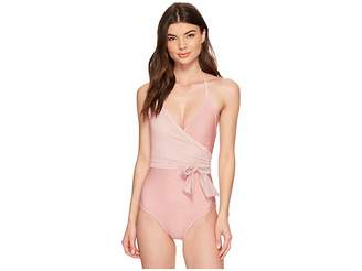 Vince Camuto Sailor Stripe V-Neck Wrap Tie One-Piece Swimsuit w/ Removable Soft Cups Women's Swimsuits One Piece