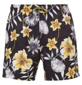 BOSS Hugo Floral-print swim shorts in quick-drying technical fabric M Open Grey