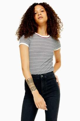 Topshop PETITE Stripe Piping T-Shirt