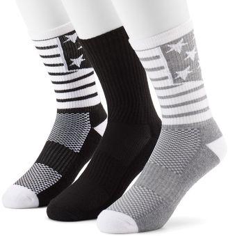 Men's Tek Gear® 3-Pack CoolTEK Americana Performance Athletic Crew Socks $14 thestylecure.com