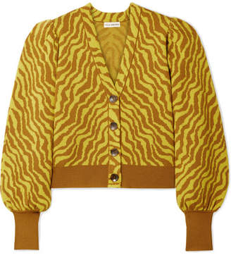 Ulla Johnson Cici Cropped Zebra-intarsia Merino Wool Cardigan - Bright yellow