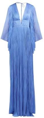 Maria Lucia Hohan Zakiya Pleated Metallic Silk Maxi Dress - Womens - Blue