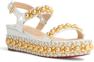 Christian Louboutin Rondaclou 60 White Leather Wedge Sandals