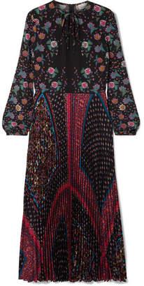 RED Valentino Floral-print Plissé-crepe Maxi Dress - Black