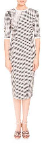 AltuzarraAltuzarra Anna Mini-Gingham Half-Sleeve Dress, Black/White
