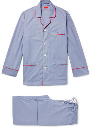 Isaia Piped Gingham Cotton-Poplin Pyjama Set