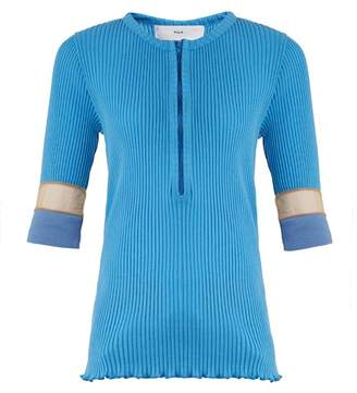 Toga Teleco Mesh Insert Ribbed Knit Sweater - Womens - Light Blue