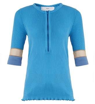 Toga - Teleco Mesh Insert Ribbed Knit Sweater - Womens - Light Blue