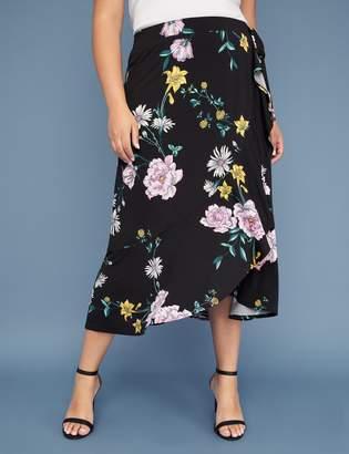 Lane Bryant Floral Printed Faux Wrap Skirt