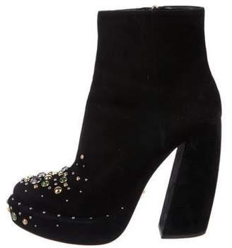 Prada Suede Embellished Boots