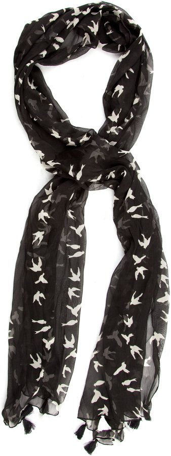 Printed Birds Scarf
