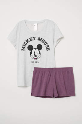 H&M Pajama Set with Top and Shorts - Gray