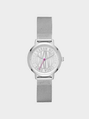 Donna Karan Donnakaran Token Logo Stainless Steel Watch With Mesh Bracelet