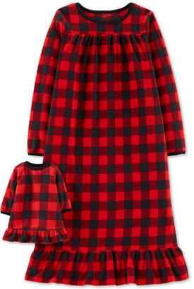 Carter's Little & Big Girls Plaid Fleece Nightgown & Doll Nightgown