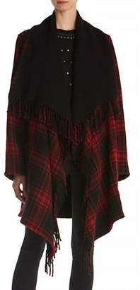 The Kooples Wool-Blend Checkered Poncho