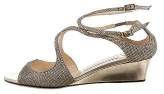Jimmy Choo Glitter Crossover Sandals